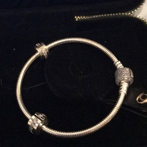 Pandora bracelet with crystal clasp and two clips